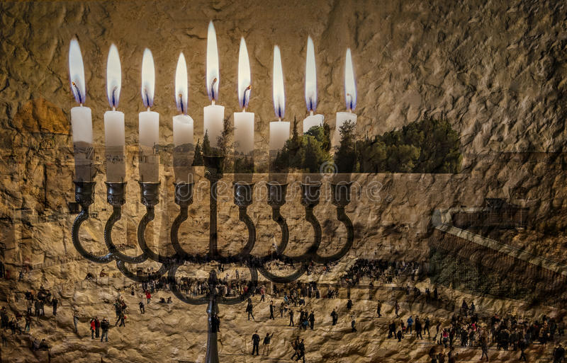 Das Bild symbolisiert Chanukka-Feiertag und jüdische Wünsche und Hoffnungen lizenzfreies stockbild