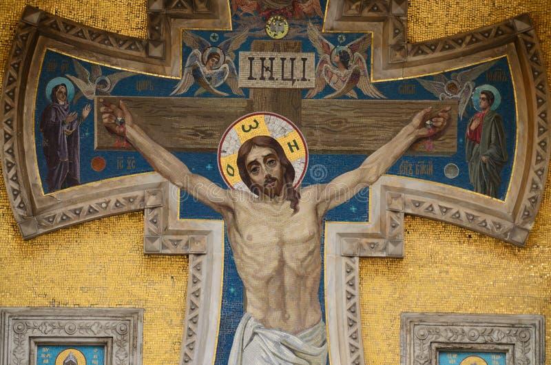 Das Bild von Jesus Christ auf den Wänden des Tempels stockfoto