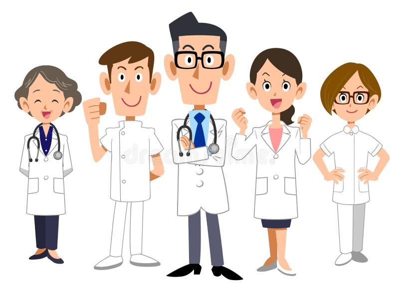 Das Bild von 5 Mitgliedern Doktorteam lizenzfreie abbildung