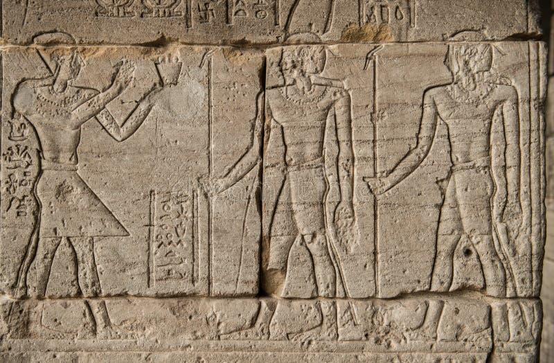 Das Bild von Pharaos und von Kriegern auf Wänden des Ägypters lizenzfreies stockfoto