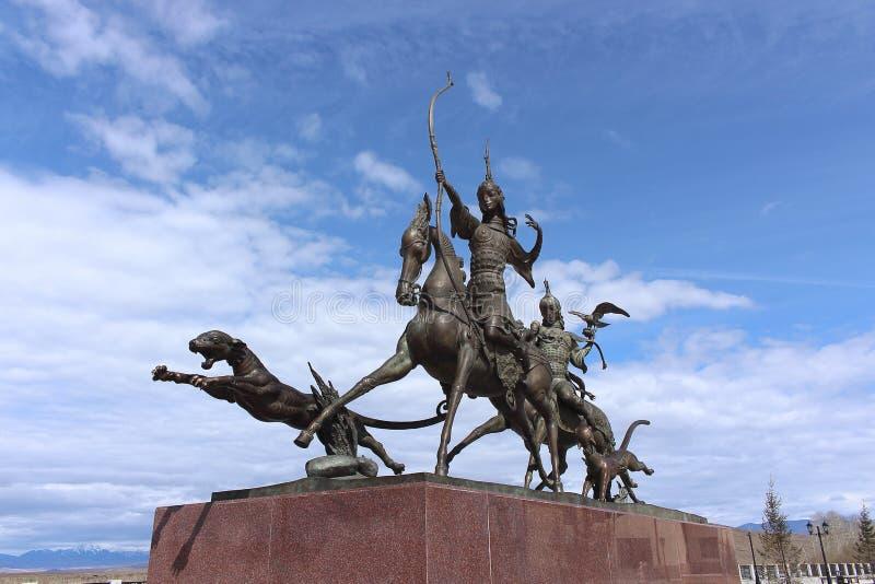 Das bildhauerische Ensemble ` Zar-Jagd ` durch den berühmten Buryat-Bildhauer Dashi Namdakov in der Stadt von Kyzyl-Republik von  lizenzfreie stockfotografie