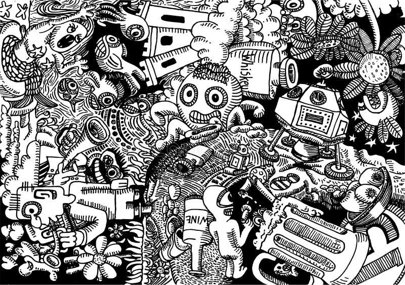 Das Bingers - kritzeln Sie die gezeichnete Kunstillustrationshand stock abbildung
