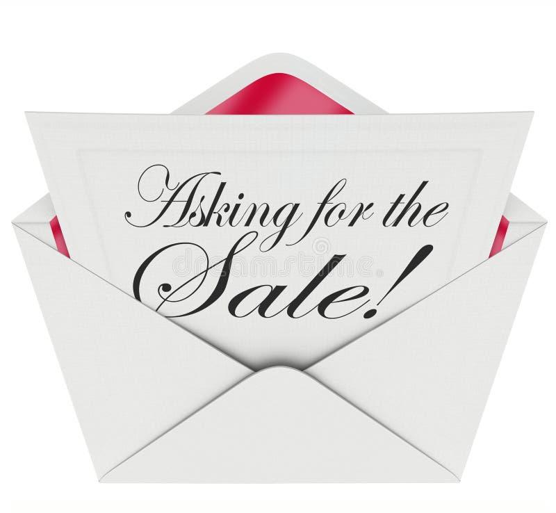 Das Bitten um die Verkaufs-Umschlag-Buchstabe-Mitteilungs-Verkäufe nah behandeln lizenzfreie abbildung