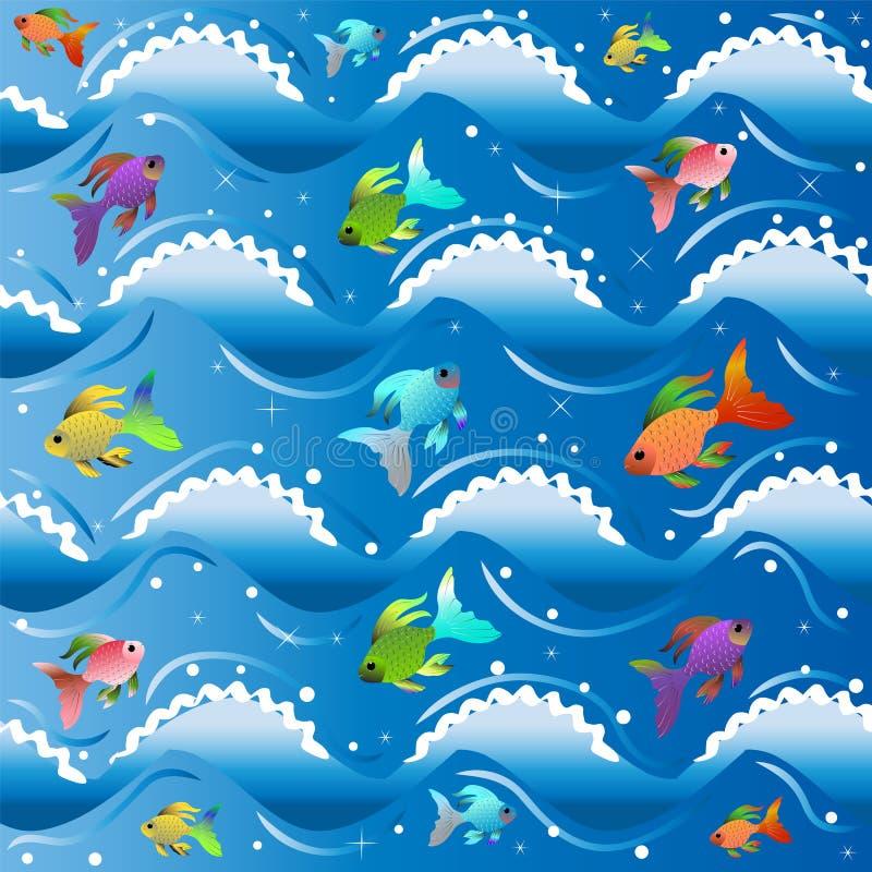 Das blaue Meer mit Lämmern des weißen Schaums auf Wellen und wenigen mehrfarbigen kleinen Fischen vektor abbildung