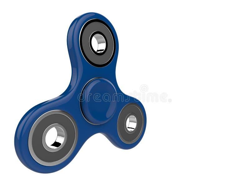 Das blaue Unruhe SPINNER-Druckentlastungsspielzeug auf Weiß lokalisierte Hintergrund Abbildung 3D vektor abbildung