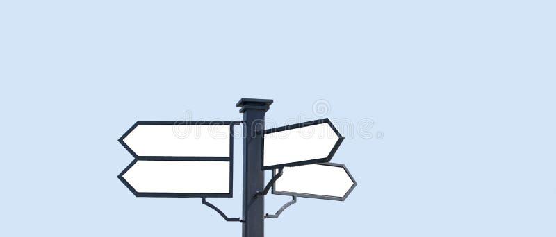 Das Blinklicht auf dem Hintergrund des blauen Himmels mit lokalisierten Aufschriften stockbild