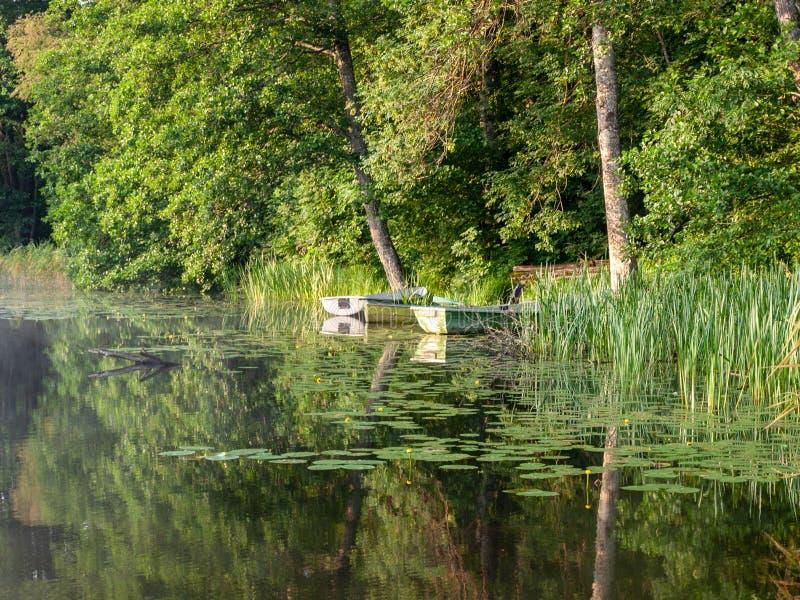 Das Boot koppelte im See an, stockfoto