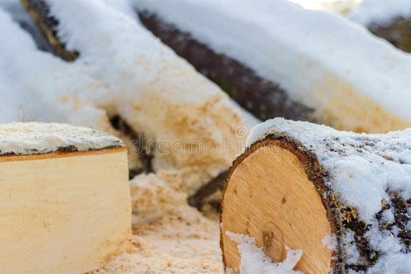 Das Brennholz bedeckt mit Schnee im Winter lizenzfreie stockfotografie