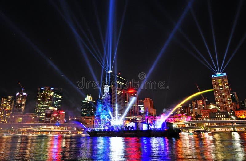 Das Brisbane-Stadt-Festival der Leuchten 12. September lizenzfreies stockbild