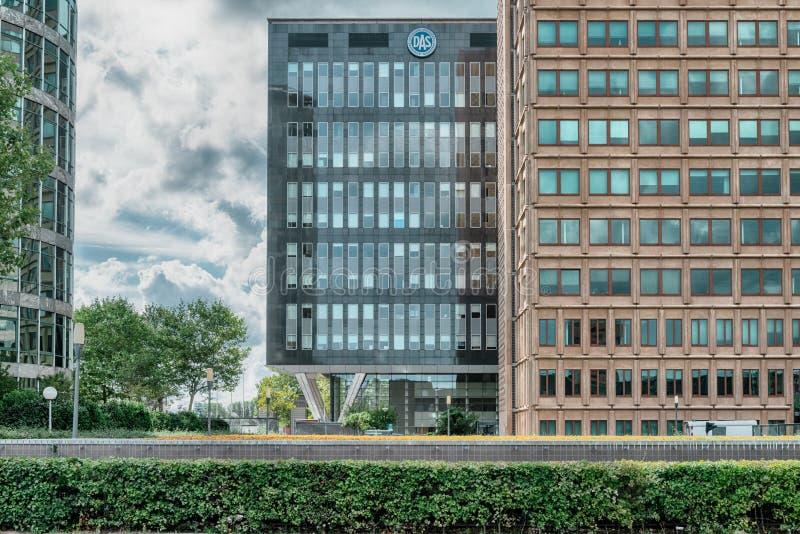 Das building, Financial District, Nowoczesne budynki biurowe, okręg biznesowy Amsterdam Arena park, Southeast, moody Cloudy sky zdjęcia royalty free