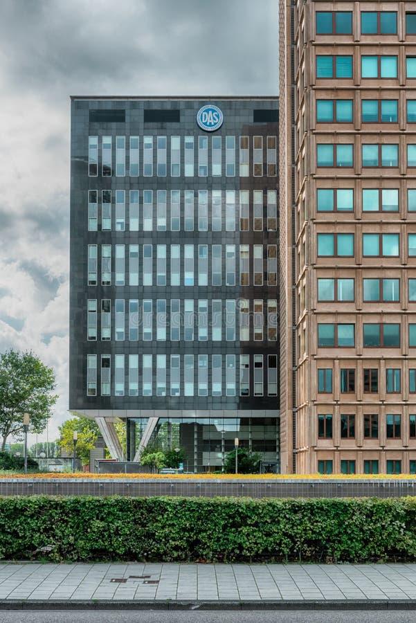 Das building, Financial District, Nowoczesne budynki biurowe, okręg biznesowy Amsterdam Arena park, Southeast, moody Cloudy sky zdjęcie stock