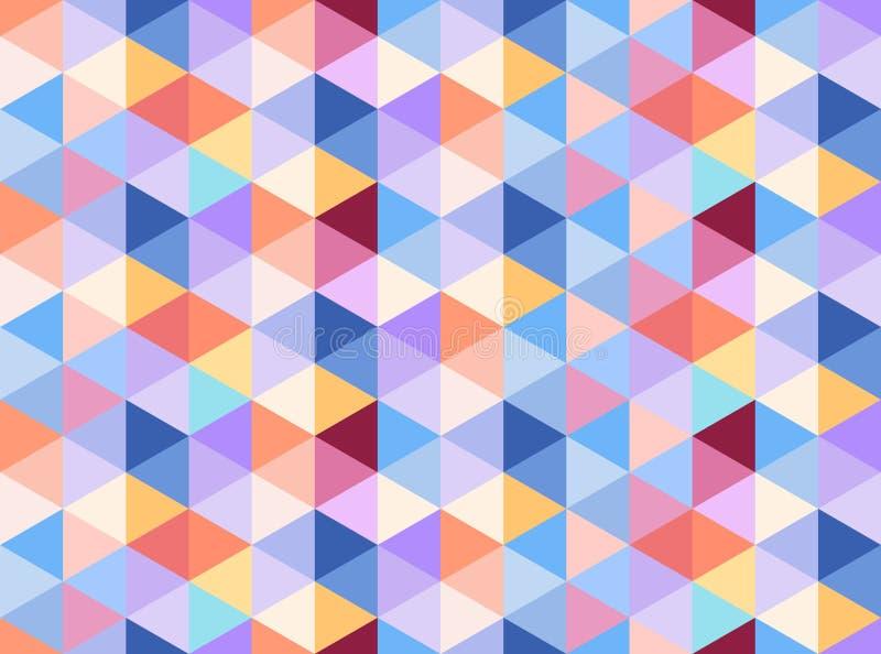 Das bunte nahtlose Musterbestehen warm und die Kälte färbt Dreiecke lizenzfreie abbildung