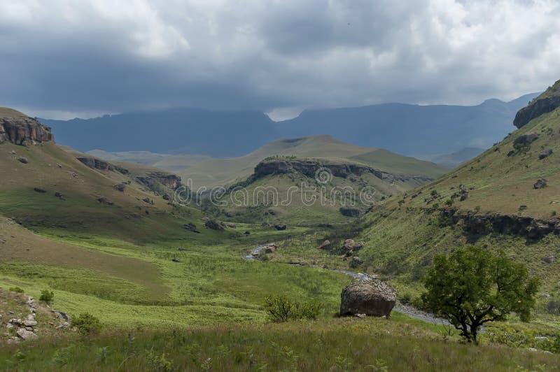 Das Bushmans River Valley im Giants-Schloss-Kwazulu Natal Naturreservat stockbilder