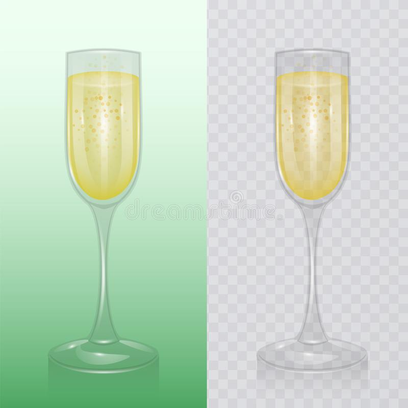 Das Champagnerglas, Mock up, Glasvorlage für alkoholische Getränke, Champagnerflöte, realistische Vektorgrafik stock abbildung