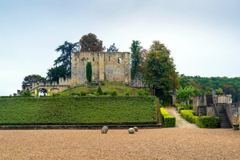 Das Chateau de Langeais, die Ruinen des 10. Jahrhunderts halten, Fra lizenzfreie stockbilder
