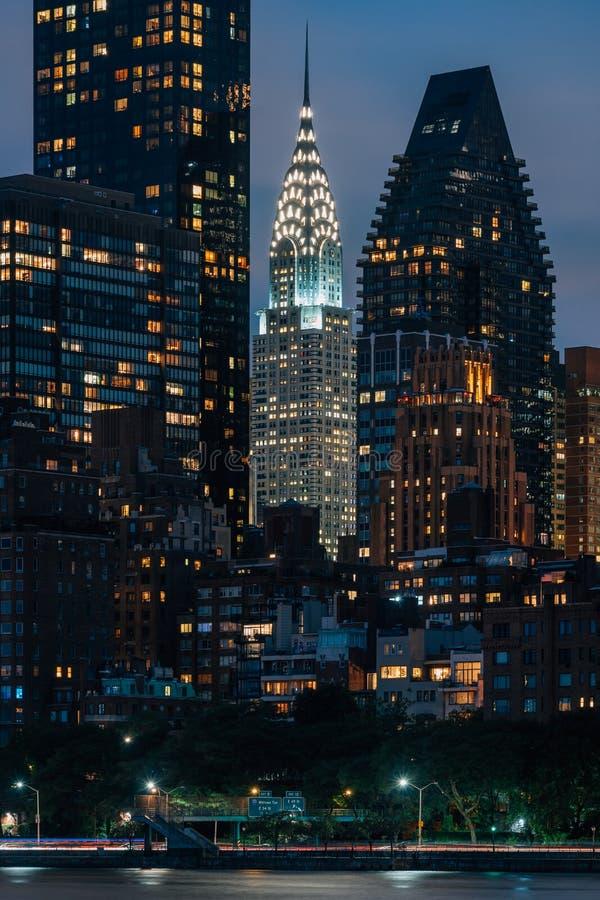 Das Chrysler-Gebäude nachts, in Manhattan, New York City stockbild