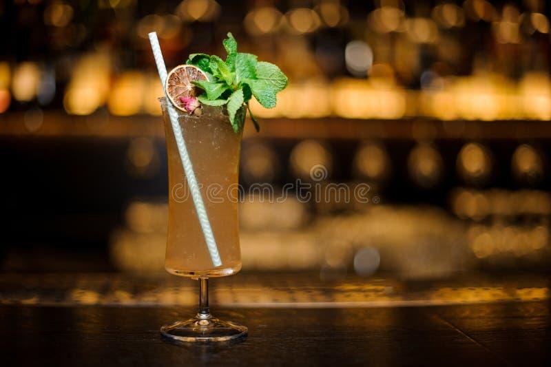 Das Cocktailglas, das mit geschmackvollem Sherry Cobbler-Getränk gefüllt wurde, verzierte stockbild