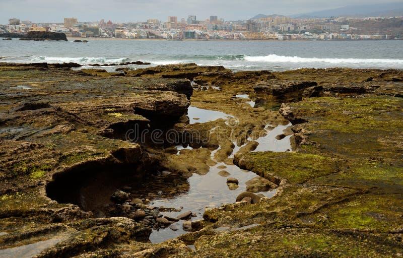 Das confital und die Stadt, Gran Canaria stockfotos