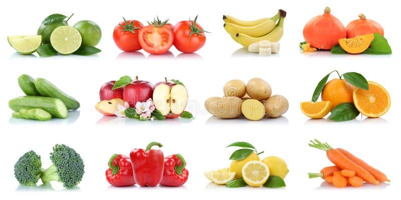 Das cores alaranjadas da banana dos tomates das maçãs da maçã dos vegetais de frutos fruto fresco isolado coleção imagem de stock royalty free