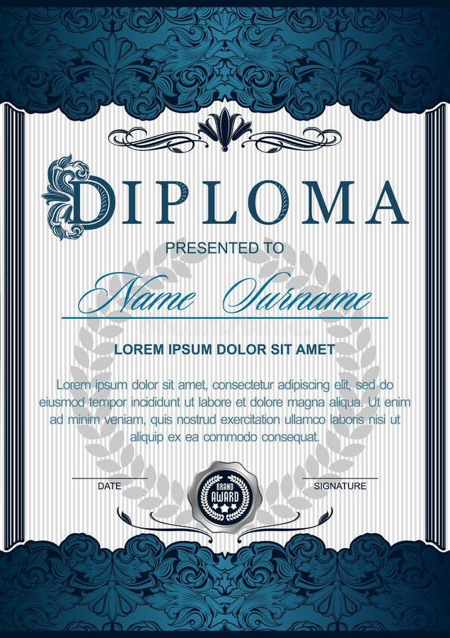 Das Diplom ist im Stil der Weinlese, der Rokoko vertikal, barock lizenzfreie abbildung
