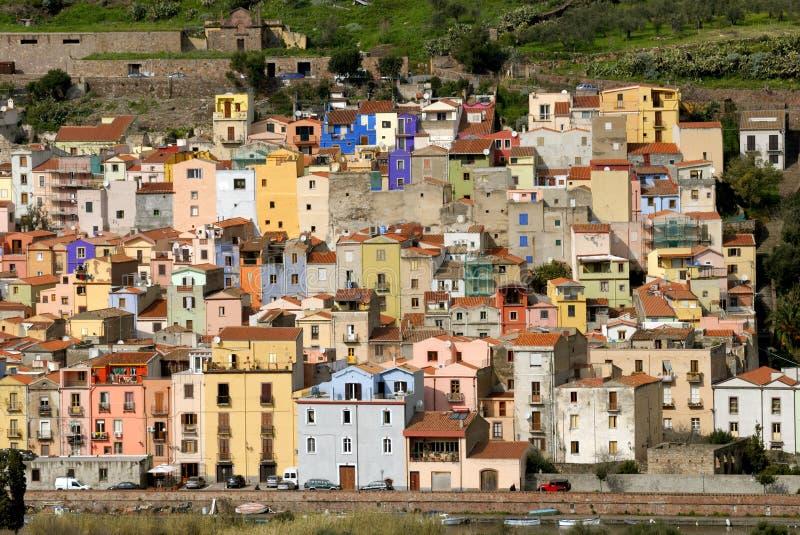 Das Dorf von Bosa, Sardinien lizenzfreie stockfotos