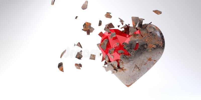 Das dreidimensionale Herz zerbricht, rostig außen und rot drinnen 3d Rendering stockfotos