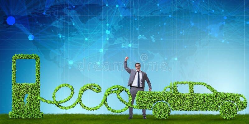 Das eco freundliche Auto angetrieben durch alternative Energie stock abbildung