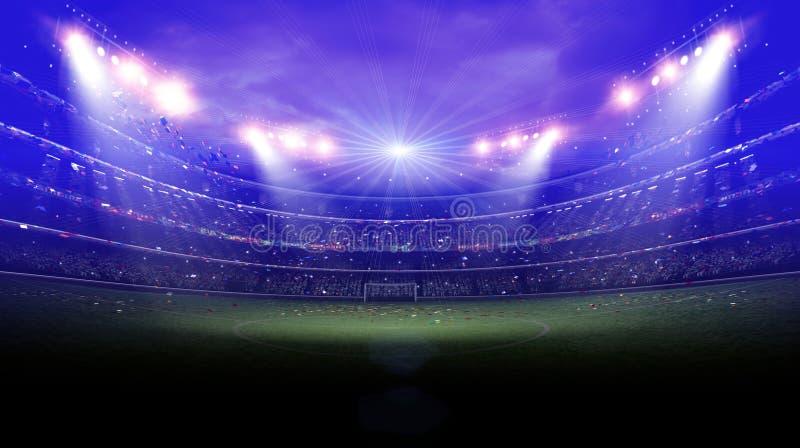 Das eingebildete Fußball-Stadion, Wiedergabe 3d stockbilder