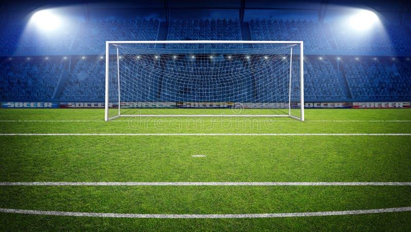 Das eingebildete Fußball-Stadion, Wiedergabe 3d lizenzfreies stockfoto