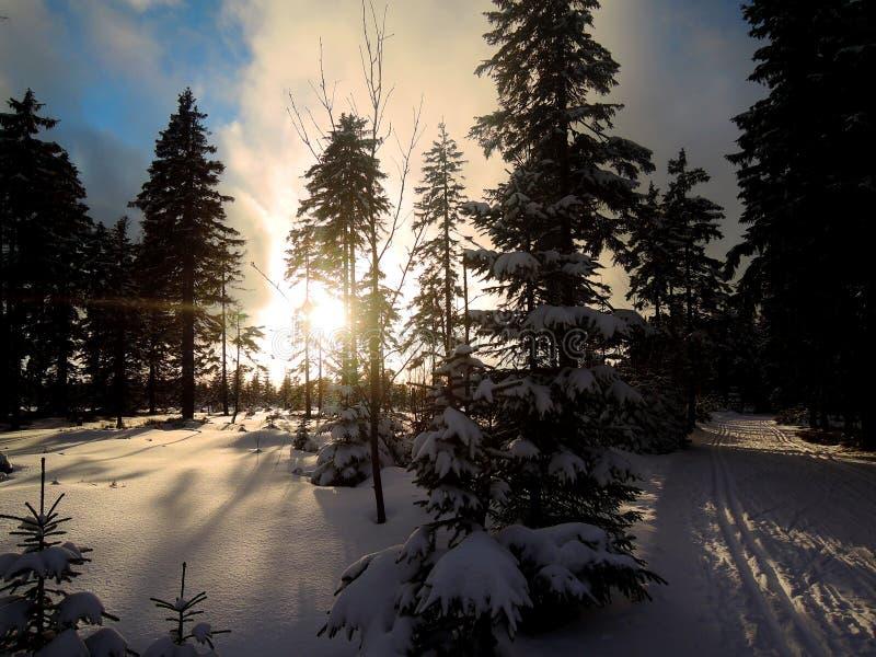 Das Ende des Tages in KrkonoÅ-¡ e lizenzfreie stockfotos