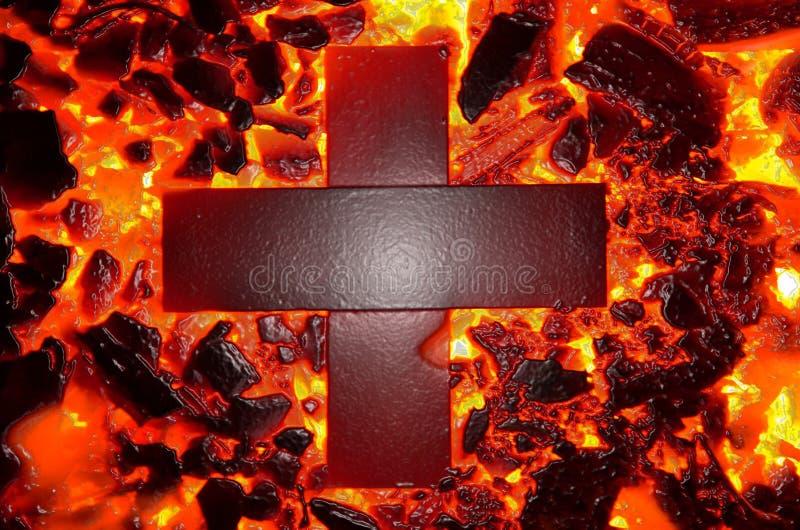 Das erläuterte Kreuz brennt lizenzfreies stockbild