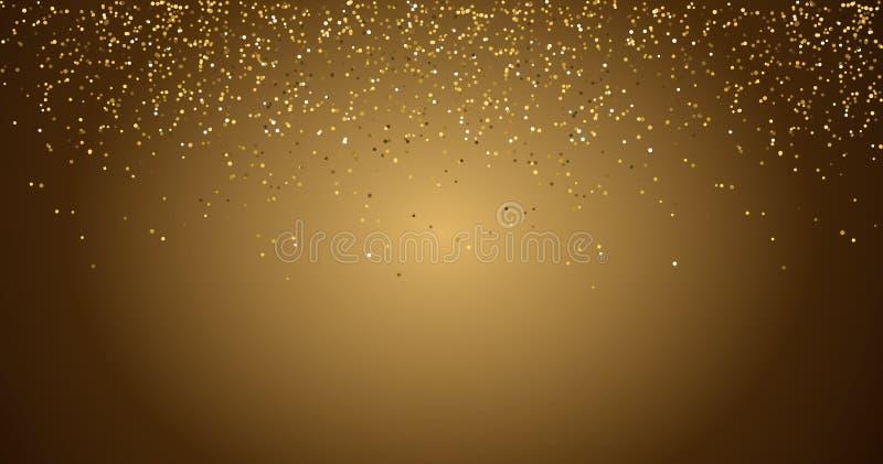 Das estrelas douradas das part?culas do champanhe das fa?sca-bolhas do brilho das cachoeiras conceito preto do feriado do ano nov ilustração stock