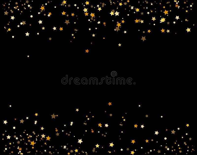 Das estrelas douradas das part?culas do champanhe das fa?sca-bolhas do brilho das cachoeiras conceito preto do feriado do ano nov ilustração royalty free