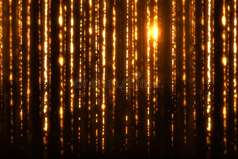 Das faíscas digitais do brilho do Natal as partículas douradas descascam o fluxo no fundo preto, evento do xmas do feriado imagens de stock royalty free