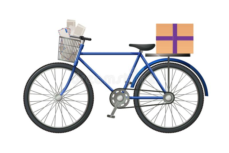 Das Fahrrad des Briefträgers, mit Postpaket und Los Buchstaben, Umschläge lizenzfreie abbildung