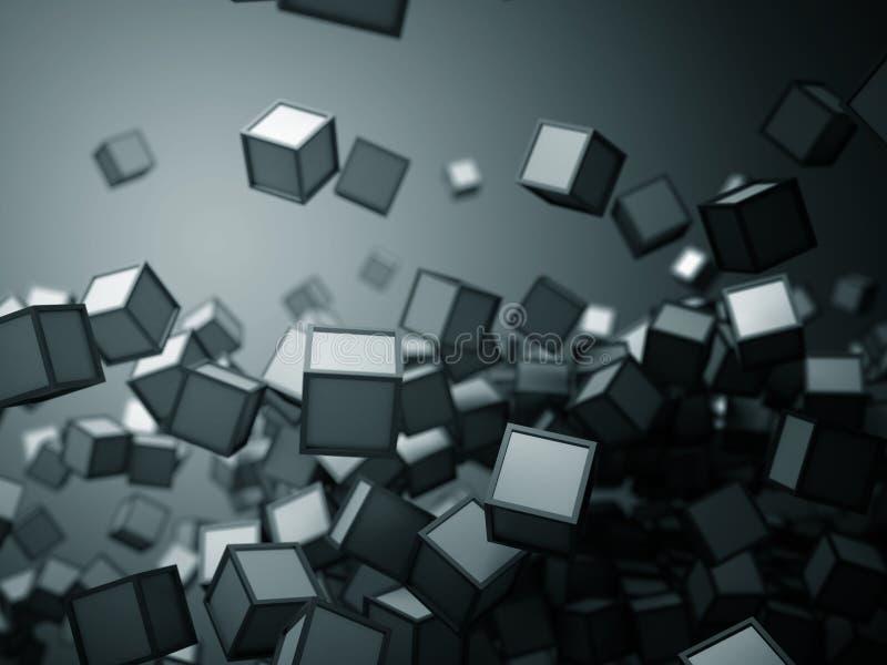 Das Fallen chaotischen von Würfeln wendet abstrakten blauen futuristischen Hintergrund ein stock abbildung