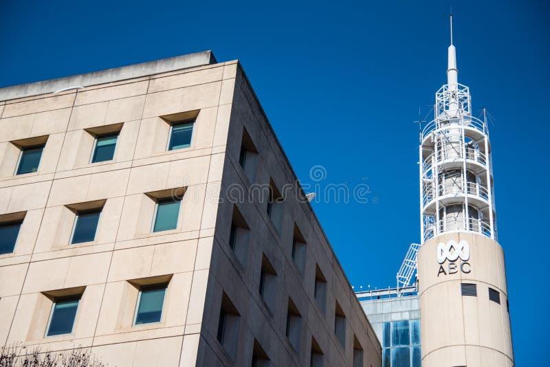 Das Fassadengebäude von ABC News für die Sendungskanäle von Australian Broadcasting Corporation lizenzfreie stockbilder