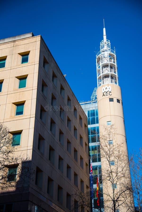 Das Fassadengebäude von ABC News für die Sendungskanäle von Australian Broadcasting Corporation lizenzfreies stockbild