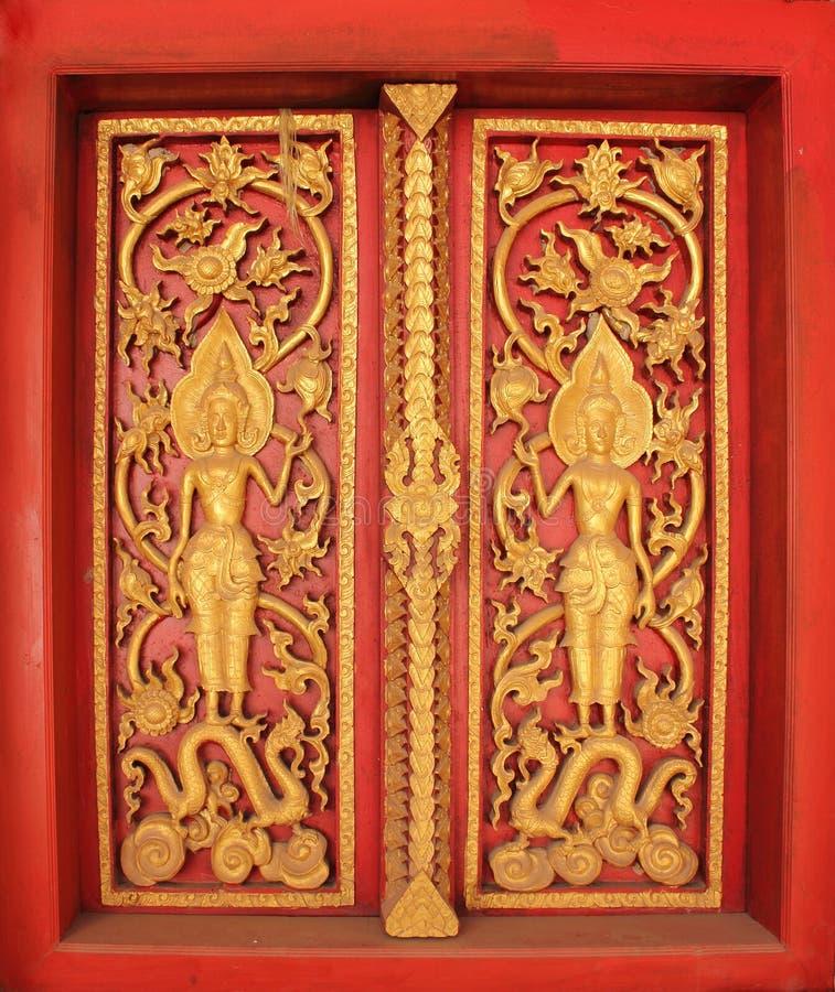 Das Fenster des buddhistischen Klosters, Laos stockbilder