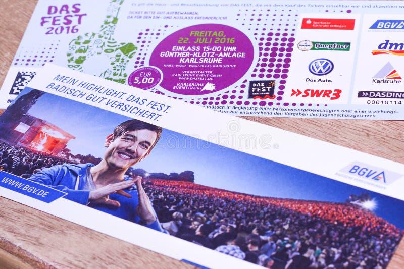 Das-Festbiljetter royaltyfri foto