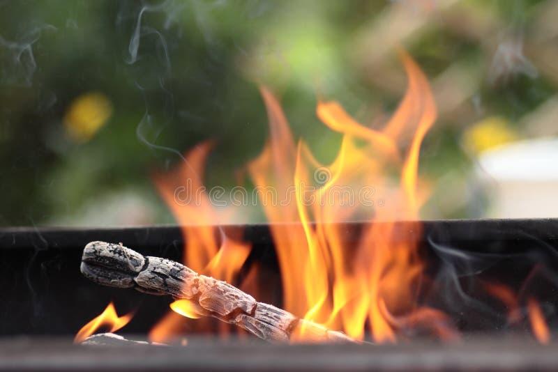Das Feuer im Grill stockfotografie