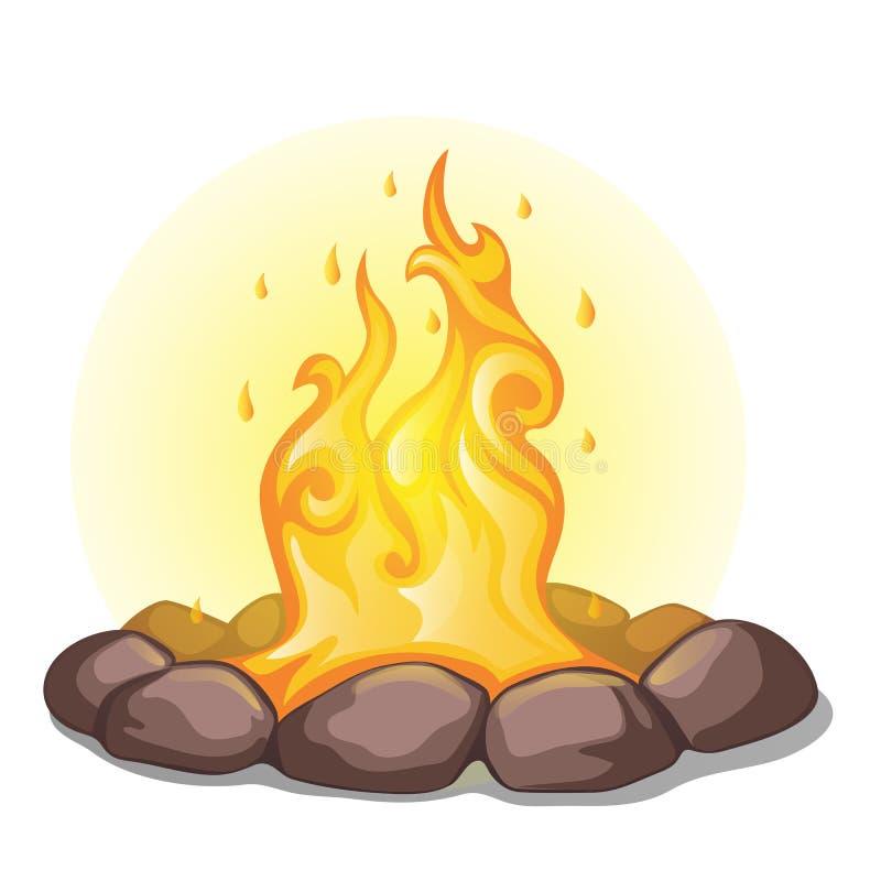 Das Feuer umgeben mit den Steinen lokalisiert auf einem weißen Hintergrund Vektorkarikatur-Nahaufnahmeillustration vektor abbildung