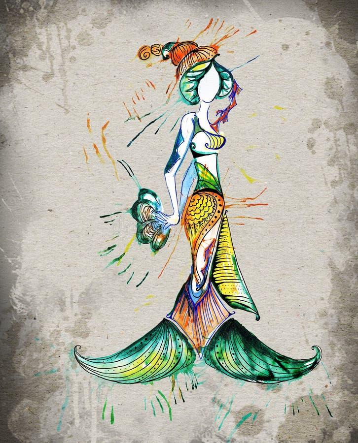 Das Fischhoroskop-Mädchenaquarell stockfoto