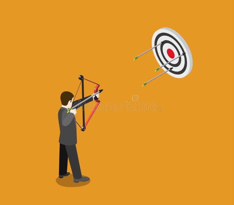 Das flache 3d isometrische Netz des Geschäftsziel-Konzeptes, Bogenschütze zielt lizenzfreie abbildung