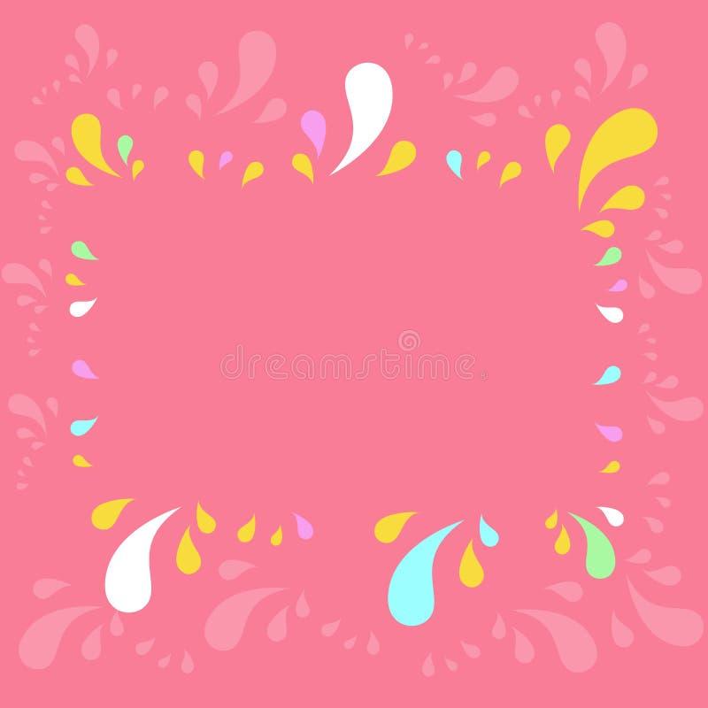 Das flache Fotofoto des Kopien-Raumfachwerks verziert durch unterschiedliches sortiertes mehrfarbiges spritzt auf Umkreis kreativ stock abbildung