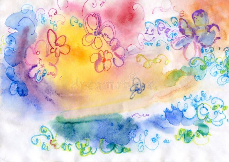 Das flores cor de água vaga ilustração royalty free