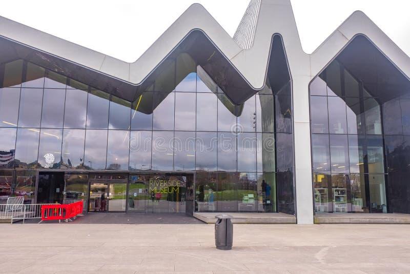 Das Flussufer-Museum Glasgow, Schottland Das Museum hat Ausstellungen früher im Transport-Museum lizenzfreies stockfoto