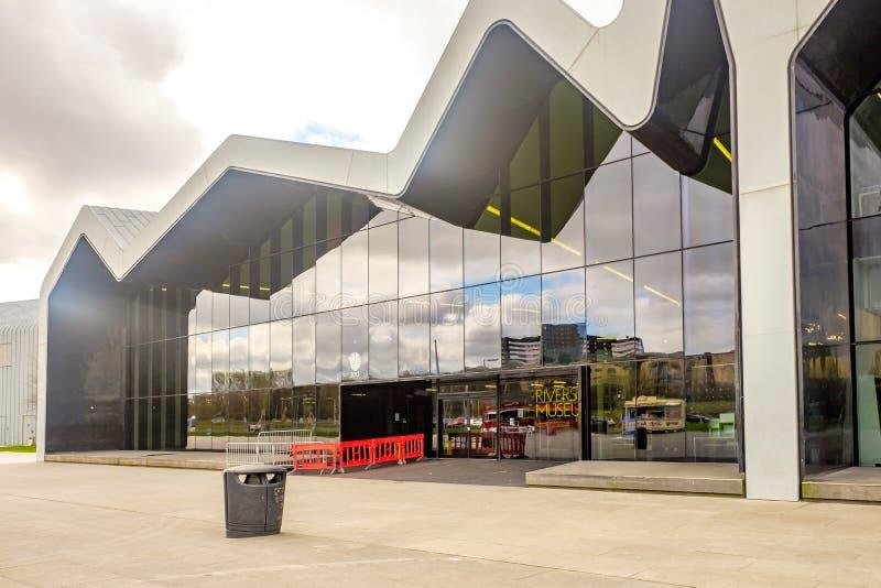 Das Flussufer-Museum Glasgow, Schottland Das Museum hat Ausstellungen früher im Transport-Museum lizenzfreie stockbilder