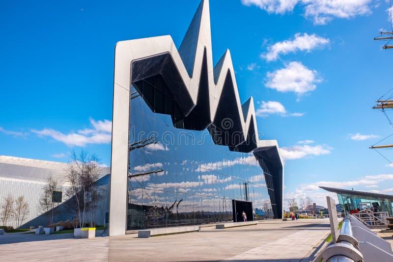 Das Flussufer-Museum Glasgow, Schottland Das Museum hat Ausstellungen früher im Transport-Museum stockfoto