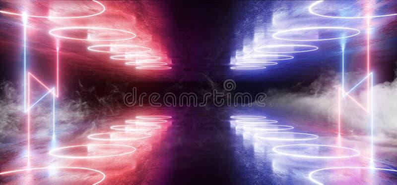 Das formas de néon futuristas do laser de Sci Fi do fumo do Grunge azul vibrante claro do fundo do clube noturno da fase do roxo  ilustração royalty free